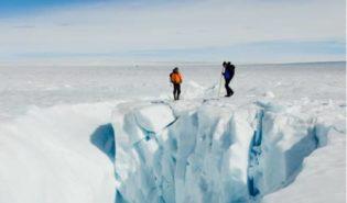People exploring ice